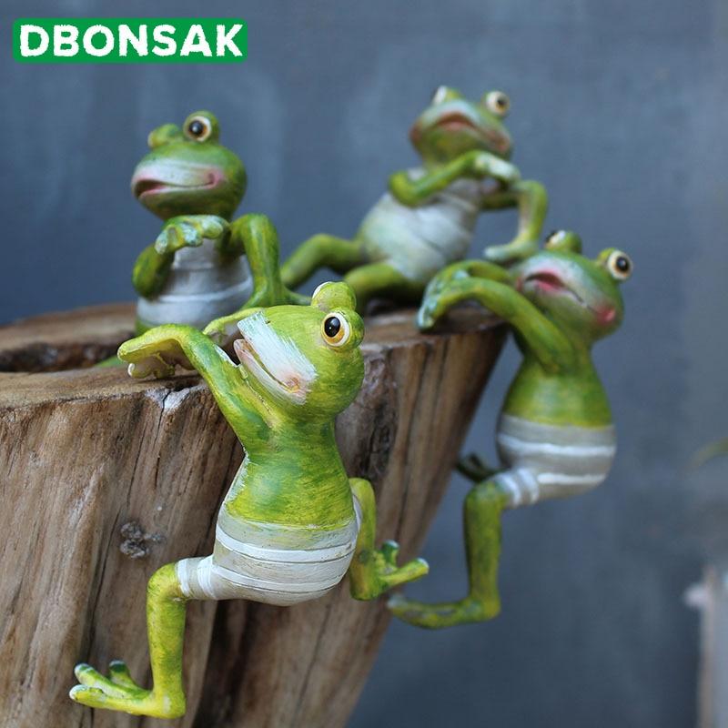 4pcs Creative Climbing Frogs Decorative Hang Frog Outdoor Flowerpot Garden Decor