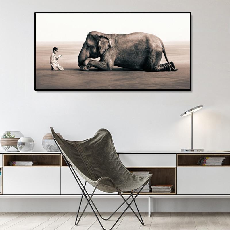 Читатель маленький мальчик и прослушиватель плакаты слона и репродукции, настенное искусство холст картины дзен для декора гостиной без ра...