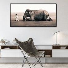 Ридер Little boy and listener плакаты слона и принты Настенная картина на холсте картины дзен для декора гостиной без рамки