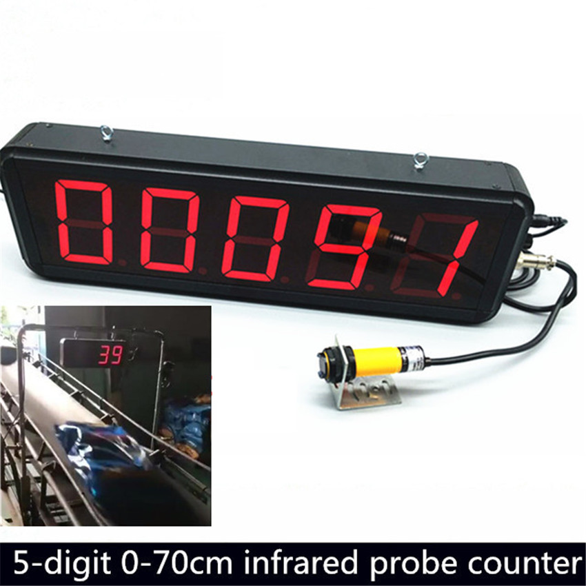 5-digit LED Display Automatic Infrared Induction Counter Warehouse Production Display Board Conveyor Belt Object Counting Machin
