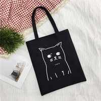 Ladies Handbags Cloth Canvas Tote Bag pattern Shopping Travel Women Eco Reusable Shoulder Shopper Bags bolsas de tela 2019 New