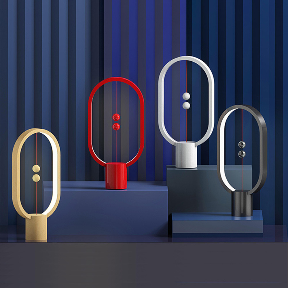 USB recargable HENGPRO Balance LED lámpara de mesa elipse magnético interruptor de aire medio toque oscurecimiento luz de noche decoración del hogar Novedad hongo luz nocturna UE y EE. UU. Enchufe Sensor de luz 220V 3 LED lámpara de hongo colorido Led luces de noche