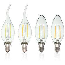 2W LED Bombilla de vela lámpara Vintage E14 110V LED globo decorativo 2W filamento Edison bombillas LED