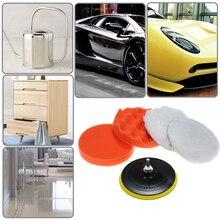 6pcs 4-7〃 Car Foam Polishing Waxing Pad Kits Polishing Wheel Sponge and Wool Buffing Pads Set with M14 Drill Adapter Threaded цена и фото