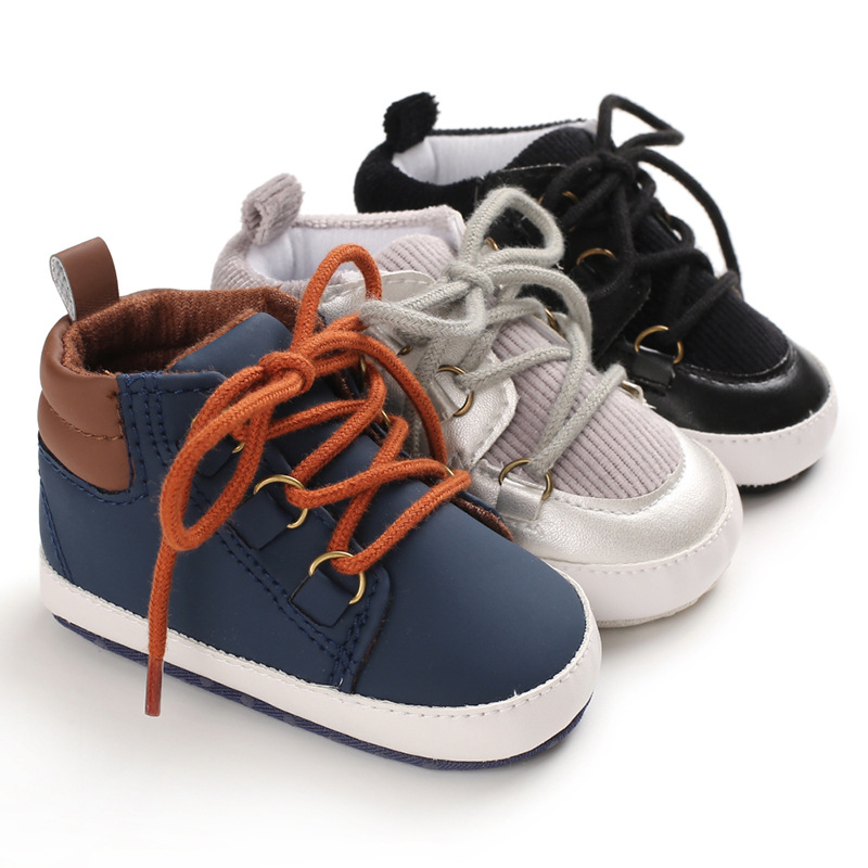 Baby Shoes New Winter Casual Solid Color Mid-Tube Front Lace Non-Slip Soft Bottom Artificial PU Upper Baby Boy Toddler Shoes