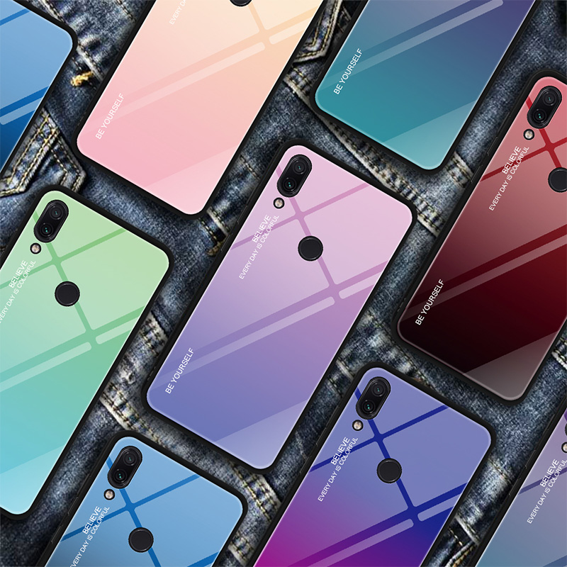 Gradient Tempered Glass Case For Redmi Note 7 Rainbow Stained Colorful Phone Case For Xiaomi Redmi K20 Pro 6 5 Plus 6A Shell