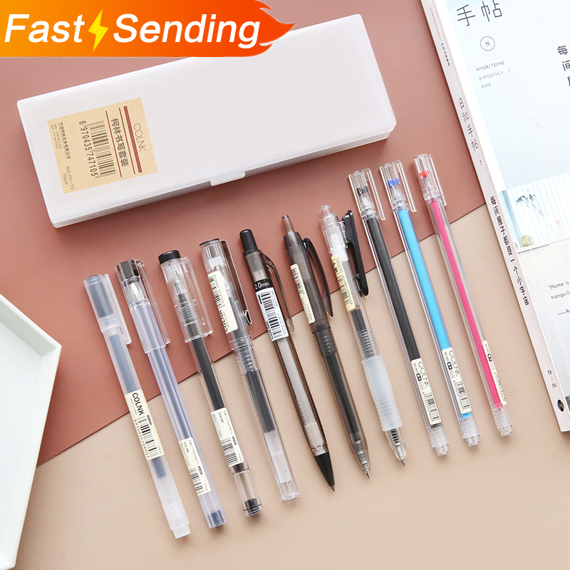 11pcs/set Simple Style Pen Pencil Set Transparent Neutral Pen  Original Press Gel Pens Office Stationery Set Kawaii