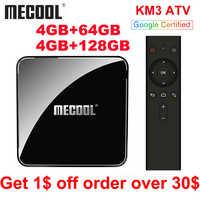 2019 Mecool KM9 PRO KM3 ATV 4 gb 64 gb Android 9.0 TV Box Google certifié Androidtv Amlogic S905X2 Double Wifi 4 K Smart TV Box