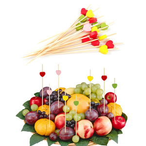12cm 20/50PCS Disposable Bamboo Heart Skewers Fruit Dessert Cake Sign Cocktail Picks Cute Food Sticks Buffet Cupcake Party @2(China)