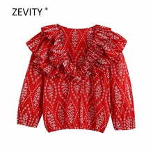 New women vintage hollow out embroidery red smock blouse female cascading ruffle v neck casual slim shirt chic brand tops LS6903
