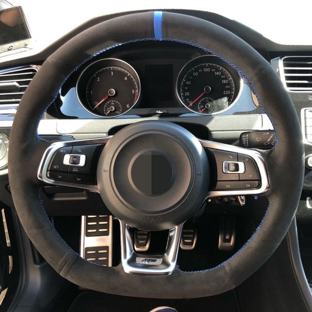 Чехол рулевого колеса автомобиля, черная замша из натуральной кожи для Volkswagen VW Golf 7 GTI Golf R MK7 VW Polo GTI Scirocco 2015 2016