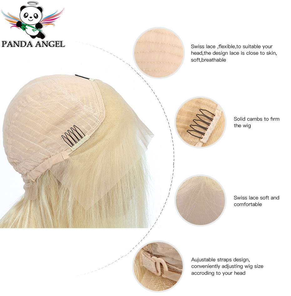 Image 4 - Panda #613 Blonde Lace Frontal Human Hair Wigs Brazilian Straight 13*4 Lace Frontal Wig Pre Plucked Honey Blonde Remy Lace Wigs-in Lace Front Wigs from Hair Extensions & Wigs