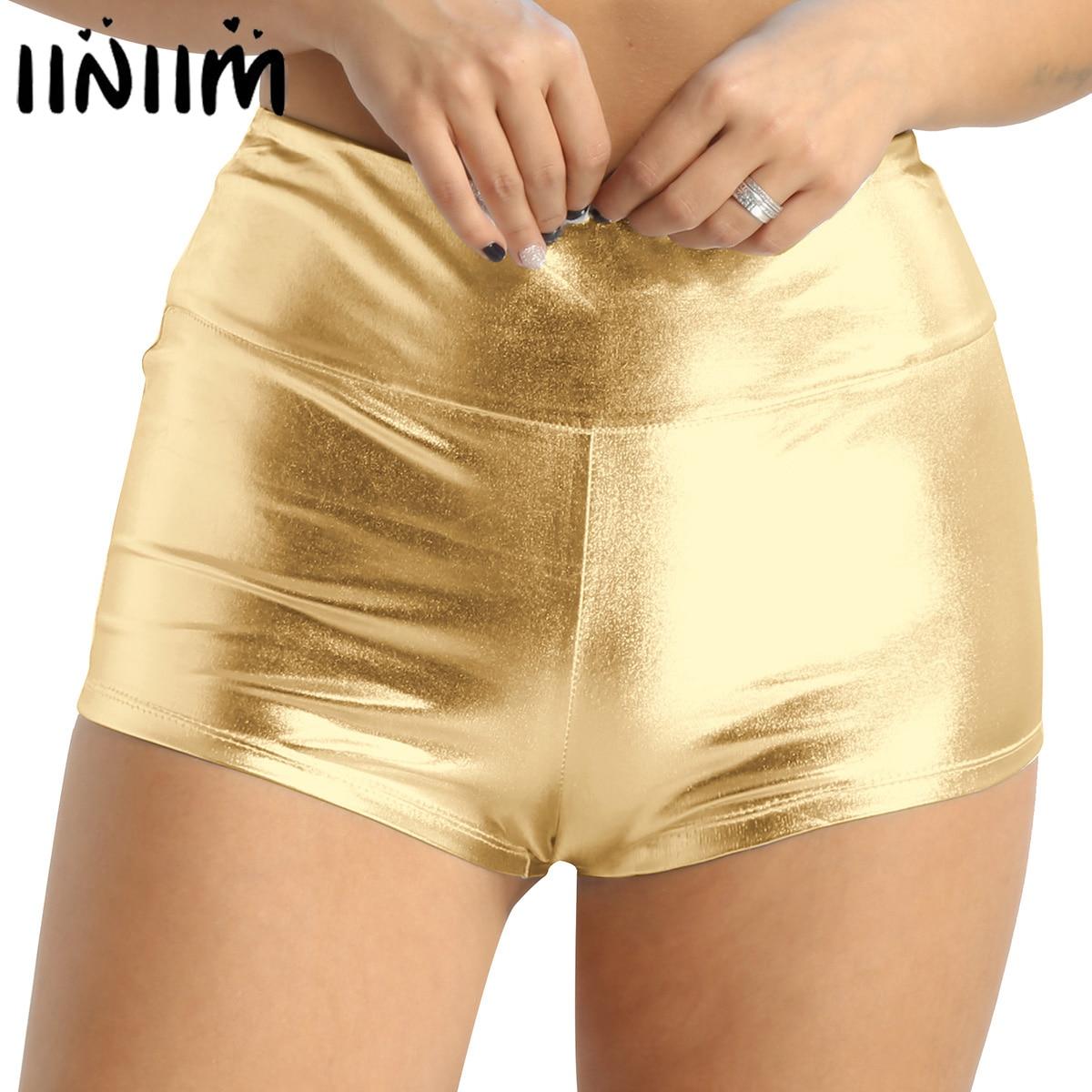 Womens Shiny Metallic High Waist Shorts Hot Pants