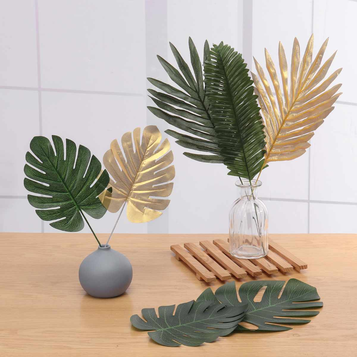 Gold Artificial Monstera Palm Maple Tree Leaves Home Garden Decoration Photography Background Flower Arrangement Accessories