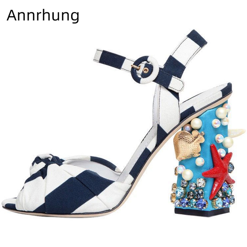 Striped Bowknot Gladiator Sandals Women Peep Toe Starfish Shell Pearl Rhinestone Decor Chunky Heel Ankle Strap Shoes Woman