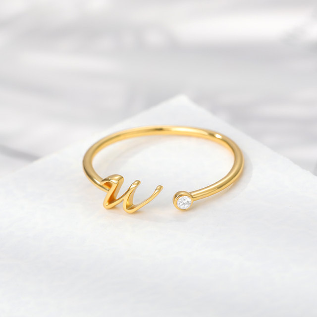 Cute Initial Letter Rings For Women Unisex Stainless Steel Gold A-Z 26 Letters Ring Creative Finger Rings Jewelry Wholesale 2