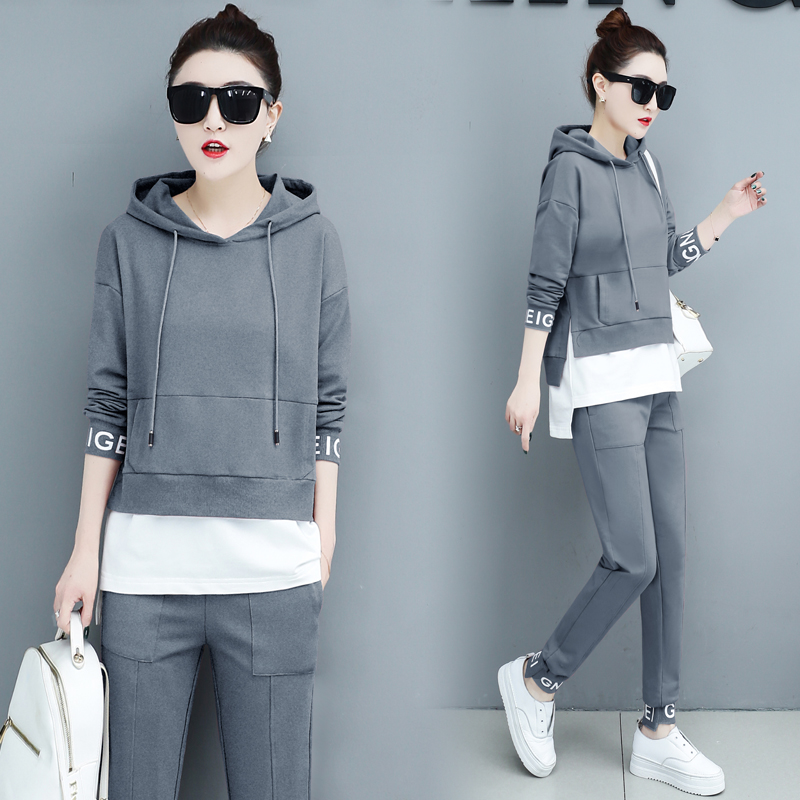 Autumn Sport Two Piece Sets Tracksuits Outfits Women Plus Size Hooded Sweatshirts And Pants Korean Casual Fashion Matching Sets 47