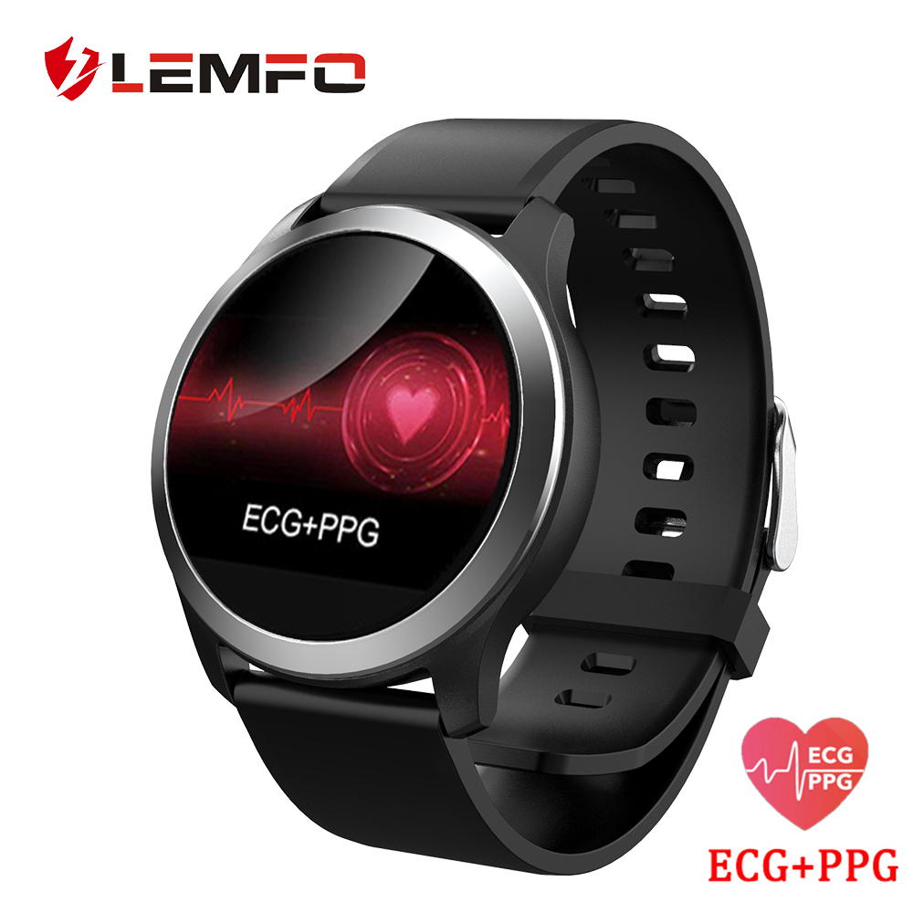 LEMFO ECG PPG Smart Watch With Electrocardiograph ECG Display Heart Rate Blood Pressure Monitor IP68 Waterproof For Men Women