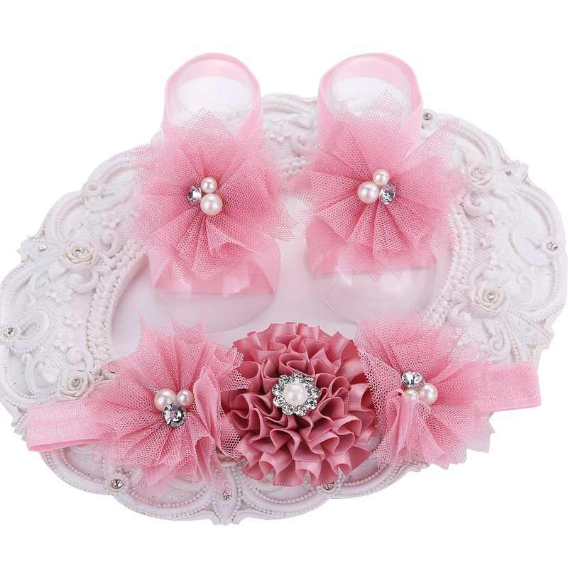 2015 Baby Cute girl Rhinestone/pearl Boutique rosset shoes Floral zapatos bebe Headband and Barefoot Shoes set retail