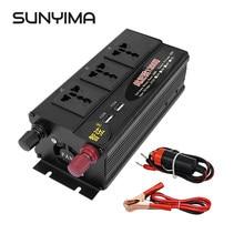 Sunyima 1200w onda senoidal pura inversor, dc12v/24v/48v para ac220v 50hz digital duplo interruptor usb duplo conversor de energia impulsionador