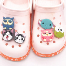 Shoes-Accessories Buckle-Fit Decoration Animals Cute Cat PVC Owl Charm 1pcs Bands Bracelets