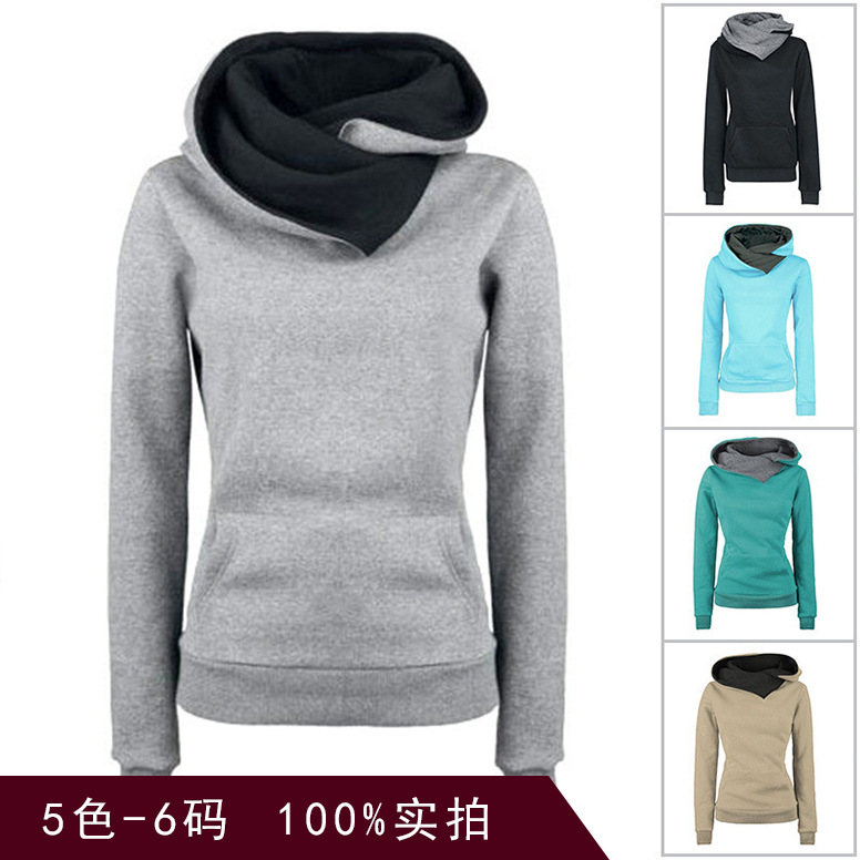 Europe and the United States fall/winter vests women's solid color pullover plus velvet hoods casual slim sports jacket hoodie