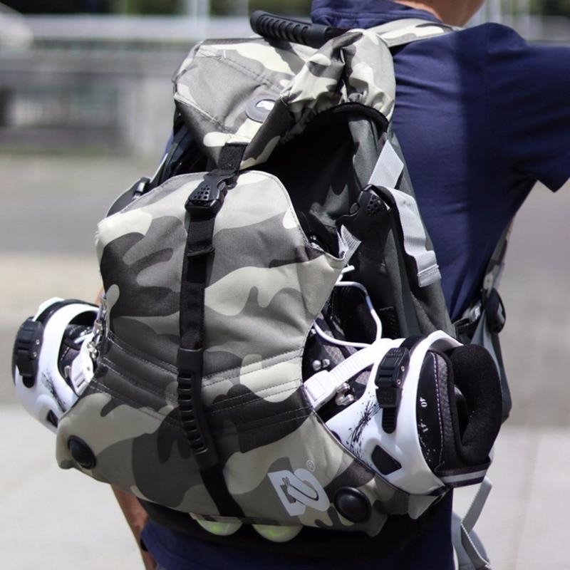 Outdoor Inline Skates Backpack Roller Skates Shoes Carry Rucksack Skating Boots Knapsack Lightweight Double Shoulder Bag HW274