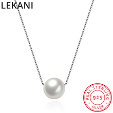 LEKANI 925 Silver Fine Jewelry Colorful Pearl Beads Crystals From Swarovski Pendant Necklace Simple Chain Collares For Women lekani crystals from swarovski necklace925 ms exquisite prom necklace christmas snowflake square pendant necklace