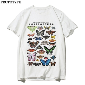 Summer Butterfly Print Top 90s Aesthetic Harajuku Short Sleeve Oversized Butterfly Graphic Vintage Tees White T Shirt For Women