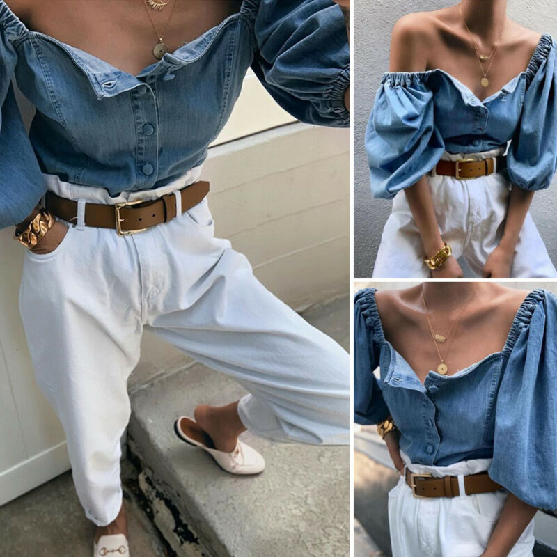 Autumn Sexy Buttons Denim Blouse Women Vintage Square Collar Jeans Blouses Tops Chic Elastic Puff Sleeve Autumn Female Shirts