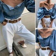 Autumn Sexy buttons denim blouse women Vintage square collar jeans blou
