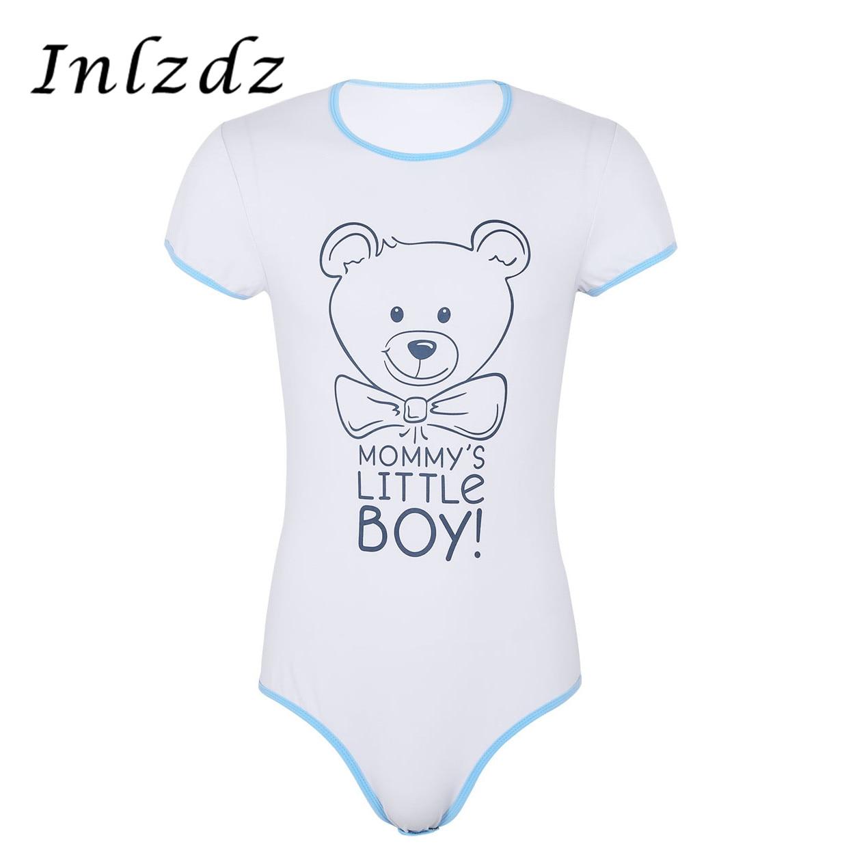 Mens Lingerie Bodysuit Romper Pajamas Round Neck Short Sleeves Press Button Crotch Front Printed Adult Baby Romper Sex Bodysuit