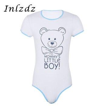 Mens Lingerie Bodysuit Romper Pajamas Round Neck Short Sleeves Press Button Crotch Front Printed Adult Baby Romper Sex Bodysuit цена 2017