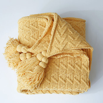2020 Fashion Knitting Blankets Knitting Tassel Casual Office Rest Blanket Online Celebrity Sofa Home Decorative Yellow Throw