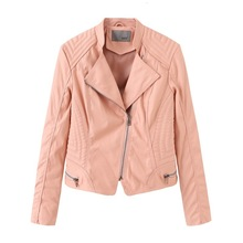 Autumn Suit-dress Leather Clothing Woman Leather Jacket Self-cultivation Woman Loose Coat Woman Pink Colour Short Fund