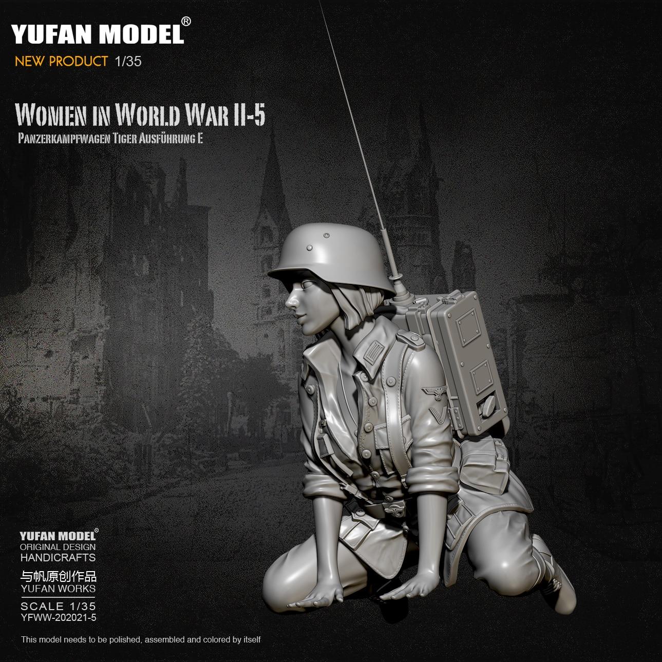 1/35 Resin Figure Kits German Female Tank Soldier Model Self-assembled YFWW-2065-5
