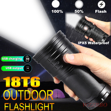 Rechargeable 18T6 LED Torch Super Bright LED Flashlight 3 Modes USB Charging Lantern Portable Lamp for Phone Charging Power Bank