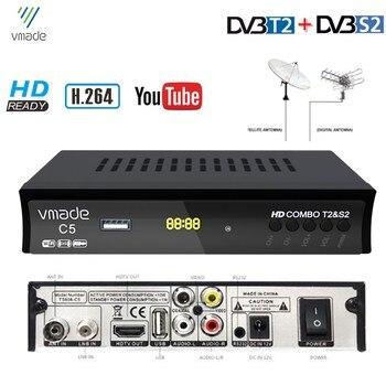 Vmade-receptor de TV satélite Digital terrestre, HD, decodificador de señal con DVB-T2, H.264, MPEG4, IPTV, compatible con Bisskey, Cccam, AC3