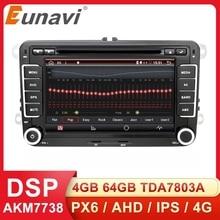 Eunavi Som automotivo multimídia 2 Din Android Auto DVD, para VW Golf 5 Polo Bora Jetta B6 Passat Tiguan Skoda Octavia Touran, com GPS DSP