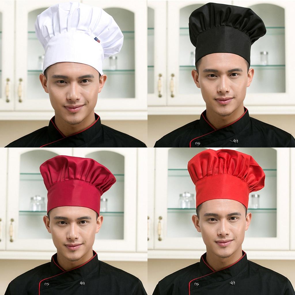 1pc Cooking Adjustable Chef Hat Men Kitchen Baker Elastic Hat Catering Cooking Cap Striped Plain Hats Working Cap