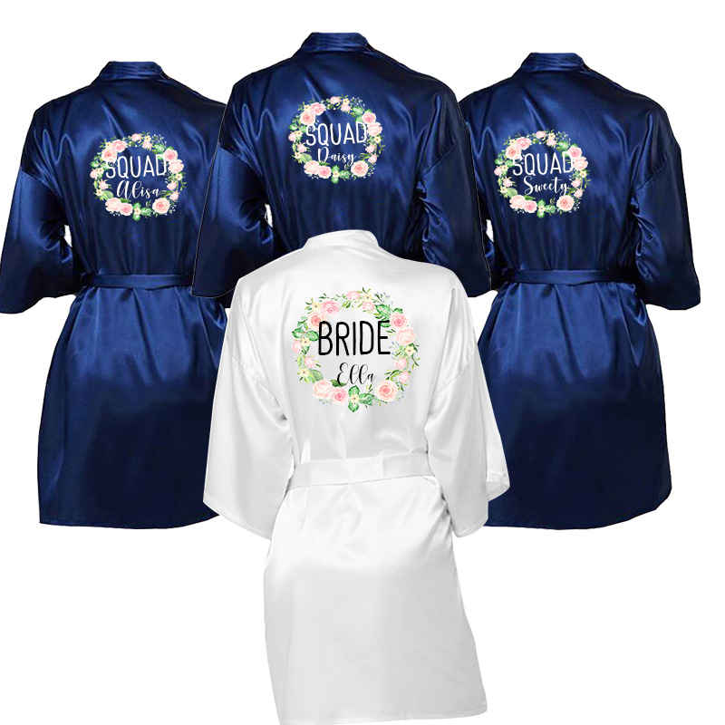 Wedding Dressing Gown Bridal Robes, Lace Satin Robe Bridal Party Dressing Gown Variety Of Colors Custom Name Sheepwear Robes