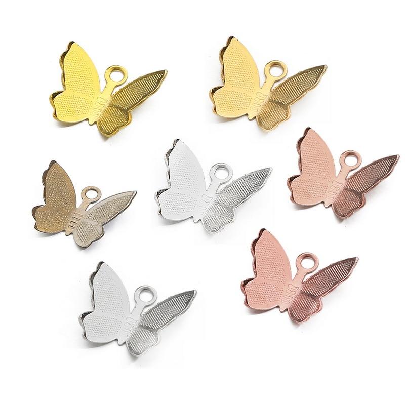 100 шт 11 мм x 13 мм металлической меди ажурные бабочки Обертывания Разъемы очаровательные браслеты бабочки, сделай сам, ювелирное изделие аксе...