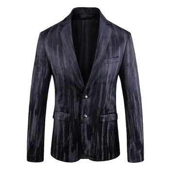 Fashion Black Print Suit Blazer Men 2020 Luxury Brand Slim Fit Single Breasted Mens Blazer Jacket Business Wedding Blazer Homme