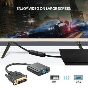 New Full HD 1080P DVI-D to VGA Adapter 24+1 25Pin Male to For PC 15Pin Cable HDTV Monitor Converter Display Computer Female A3H2