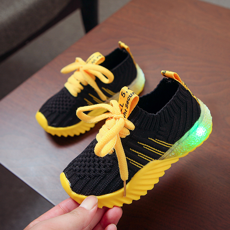 Children Luminous Shoes Fashion Mesh Breathable Sport Shoe Baby Boys Girls Flashing Lights Shoes Toddler LED Sneakers Hot|  - title=