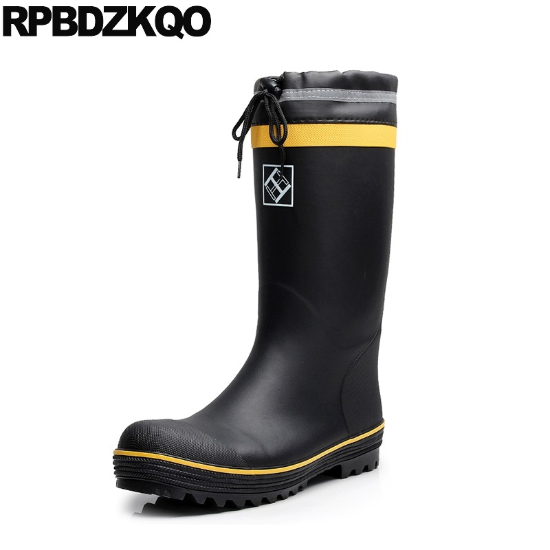 flat safety shoes with steel toe cap plus size rain tall slip on faux fur winter men waterproof durable mid calf boots black image