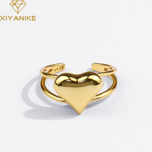 Xiyanike 925 Sterling Zilver Liefde Hart Holle Dubbele Lijn Ring Vrouwelijke Mode Temperament Gouden Elegante Sieraden Dropshipping