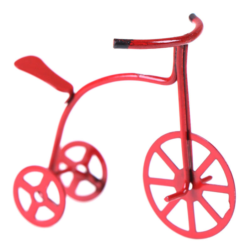 1/12 Dollhouse Miniature Mini Red Bicycle Simulation Bike Model Toys For Doll House Decoration Furniture Toys Accessories
