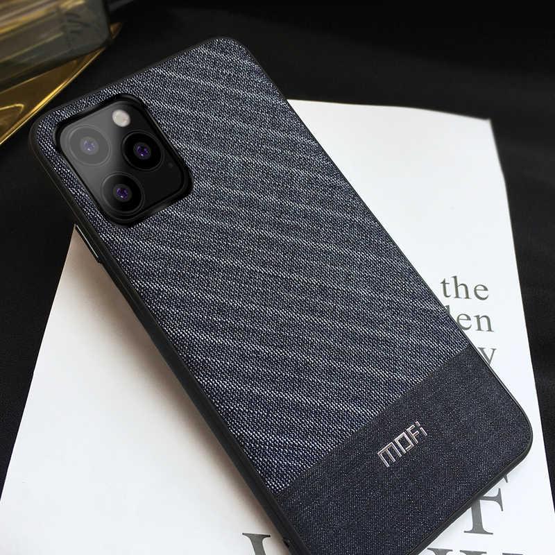 Capa mofi para iphone 11 2019 pro max, capa traseira para celulares tecidos de pano homem azul escuro