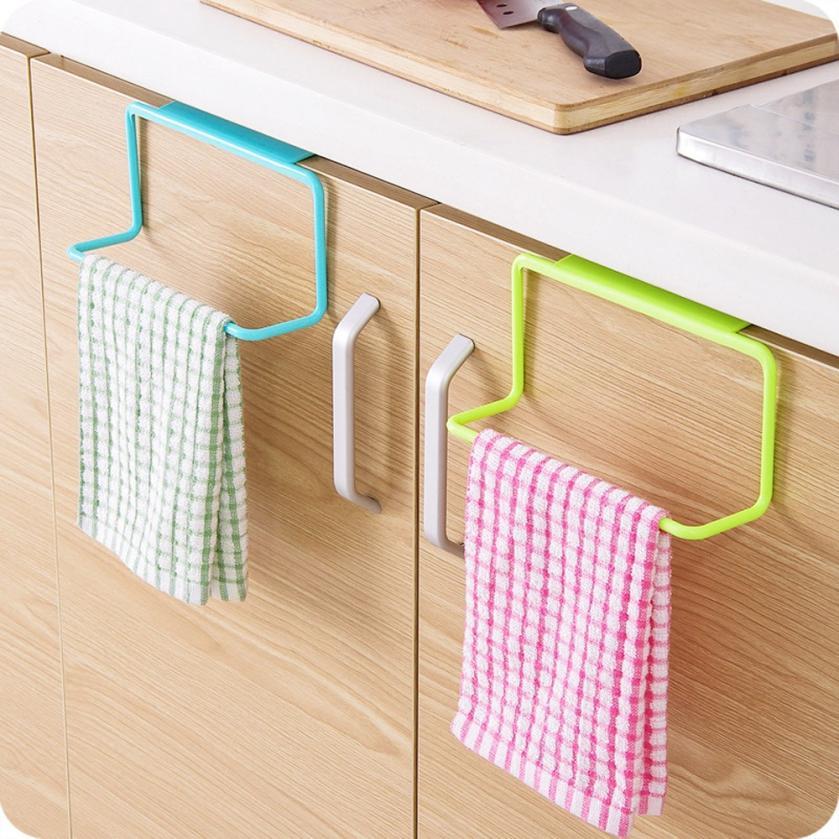 Kitchen Organizer Towel Rack Hanging Holder Door Back Hanging Style Cabinet Stand Trash Garbage Bags Support Holder Shelf